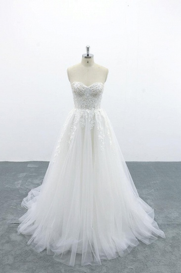 BMbridal Appliques Strapless Tulle A-line Wedding Dress On Sale_1