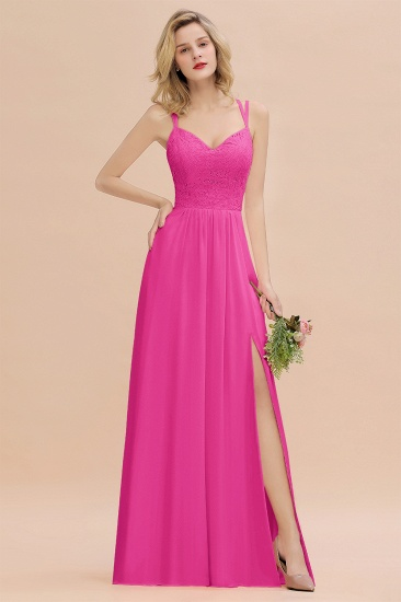 BMbridal Sexy Spaghetti-Straps Coral Lace Bridesmaid Dresses with Slit_9