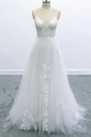 BMbridal Best Spaghetti Strap Appliques Tulle Wedding Dress On Sale