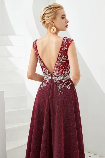 Shinning Bugrundy Crystal  Prom Dress Long V-Neck Sleeveless Evening Gowns_6