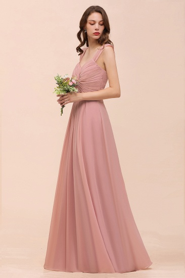 Vintage Mauve Chiffon Straps Ruffle Affordable Bridesmaid Dress_6