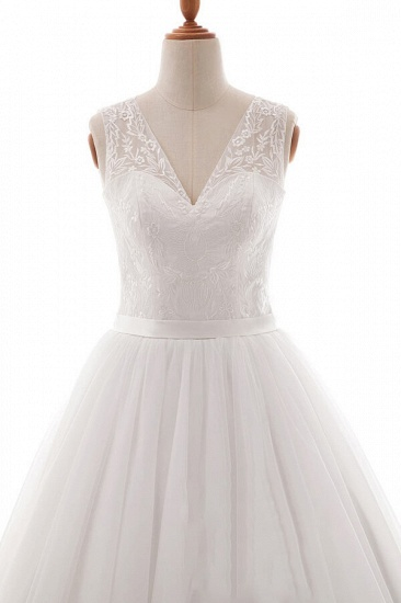 BMbridal Eye-catching V-neck Tulle A-line Wedding Dress On Sale_4