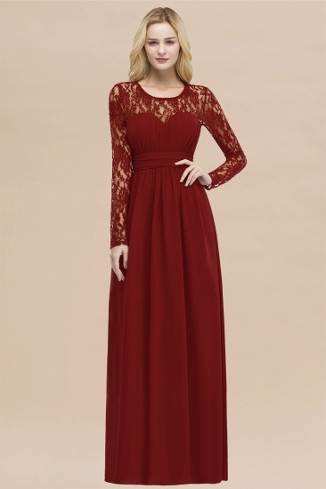 BMbridal Elegant Lace Burgundy Bridesmaid Dresses Online with Long Sleeves_48