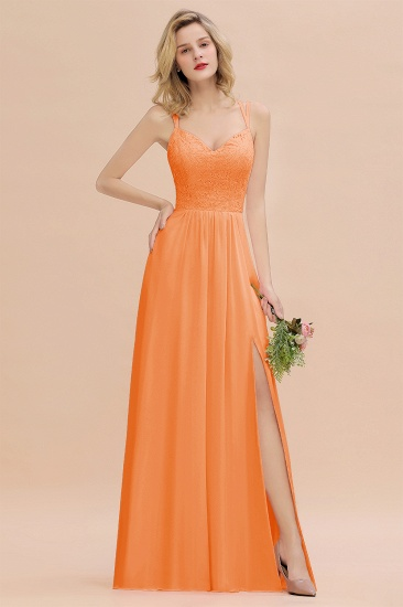 Sexy Spaghetti-Straps Coral Lace Bridesmaid Dresses with Slit_16
