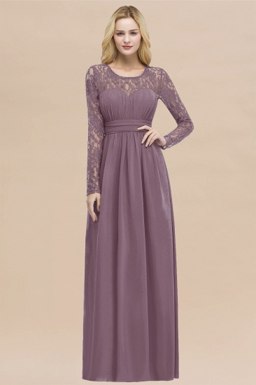 BMbridal Elegant Lace Burgundy Bridesmaid Dresses Online with Long Sleeves_43
