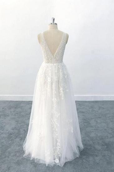 BMbridal Elegant V-neck Appliques Tulle A-line Wedding Dress On Sale_3