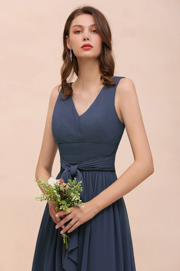 BMbridal Affordable V-Neck Chiffon Long Stormy Bridesmaid Dress With Slit_6
