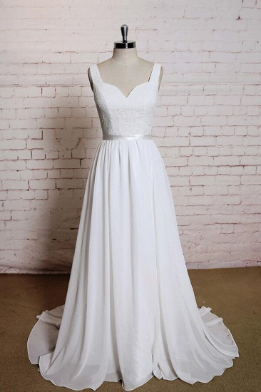 BMbridal Square Neck Lace Chiffon A-line Wedding Dress On Sale_1