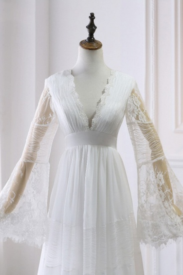BMbridal Chic Empire Lace Tulle Wedding Dress Long Sleeves V-Neck Appliques Bridal Gowns On Sale_4