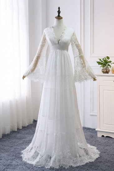BMbridal Chic Empire Lace Tulle Wedding Dress Long Sleeves V-Neck Appliques Bridal Gowns On Sale_6