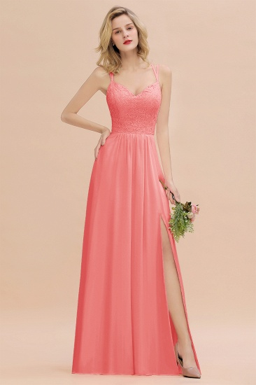 Sexy Spaghetti-Straps Coral Lace Bridesmaid Dresses with Slit_8