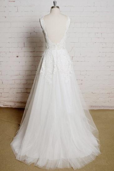 BMbridal Chic V-neck Appliques Tulle A-line Wedding Dress On Sale_3