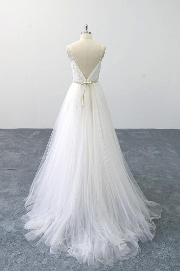 BMbridal Chic Spaghetti Strap Appliques Tulle Wedding Dress On Sale_3