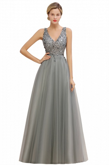 BMbridal Glamorous V-Neck Sleeveless Prom Dress Long Tulle Evening Gowns With Crystals_4