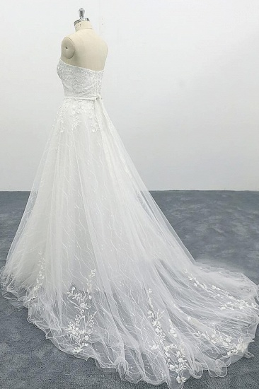 BMbridal Strapless Tulle Chapel Train A-line Wedding Dress On Sale_5