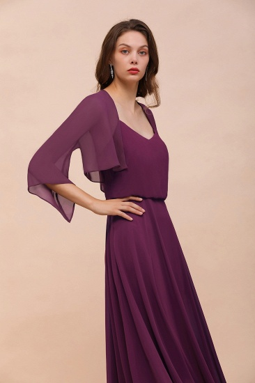 BMbridal Grape Chiffon 3/4 Sleeves Special Occasions Wrap_6