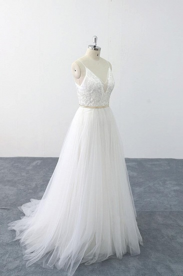 BMbridal Chic Spaghetti Strap Appliques Tulle Wedding Dress On Sale_4