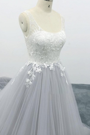 BMbridal Square Neck Appliques Tulle A-line Wedding Dress On Sale_6