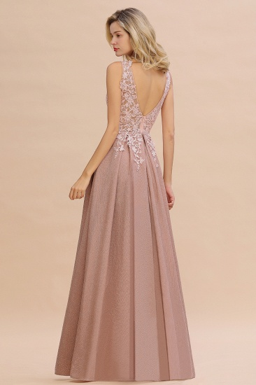 Dusty Pink V-Neck Long Prom Dress With Lace Appliques Online_8