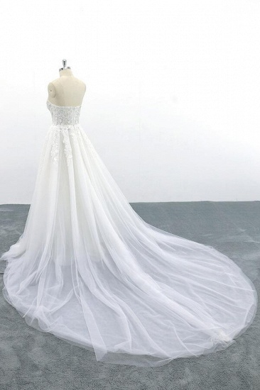 BMbridal Appliques Strapless Tulle A-line Wedding Dress On Sale_6