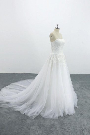 BMbridal Graceful Strapless Appliques Tulle Wedding Dress On Sale_4