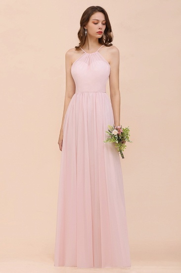BMbridal Gorgeous Chiffon Halter Ruffle Affordable Long Bridesmaid Dress_57