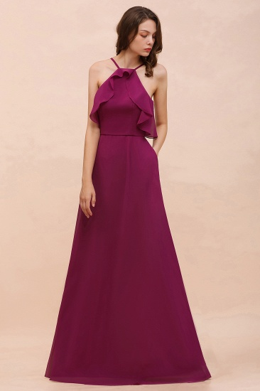 Stylish Spaghetti Straps Mulberry Chiffon Bridesmaid Dress with Ruffles_4