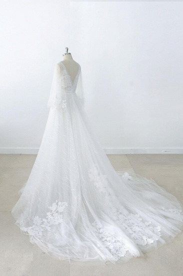 BMbridal Long Sleeve V-neck Appliques Tulle Wedding Dress On Sale_6