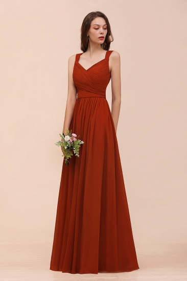 BMbridal New Arrival Gorgeous Straps Ruffle Rust Long Bridesmaid Dress_5