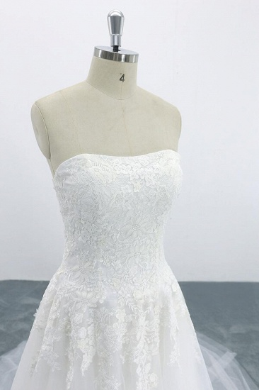 BMbridal Graceful Strapless Appliques Tulle Wedding Dress On Sale_5