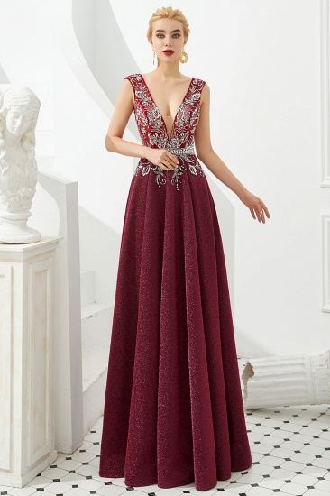 Shinning Bugrundy Crystal  Prom Dress Long V-Neck Sleeveless Evening Gowns
