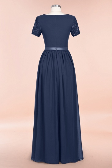Elegant Chiffon Lace Jewel Short-Sleeves Affordable Bridesmaid Dress_60