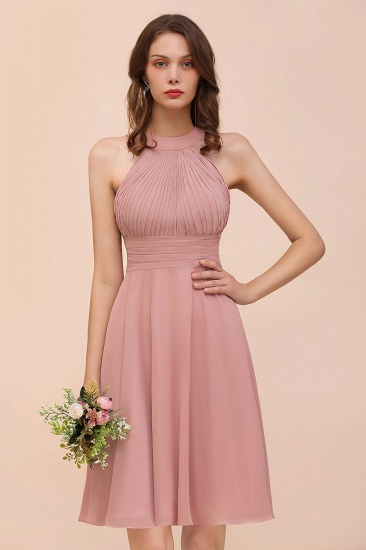 Affordable Dusty Pink Round Neck Ruffle Short Bridesmaid Dresses Online_1