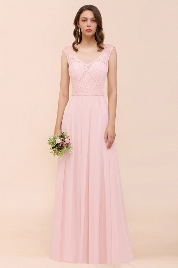Elegant Pink Lace Straps Ruffle Affordable Bridesmaid Dress