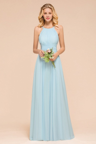 Gorgeous Halter Ruffle Sky Blue Affordable Bridesmaid Dress_1