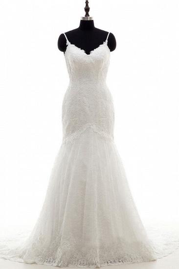 BMbridal Appliques Spaghetti Strap Mermaid Wedding Dress On Sale_1