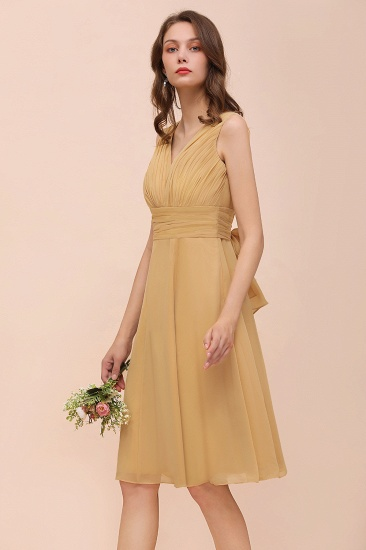 BMbridal Affordable V-Neck Ruffle Gold Short Bridesmaid Dresses with Bow_7