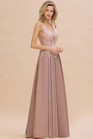 Dusty Pink V-Neck Long Prom Dress With Lace Appliques Online_10