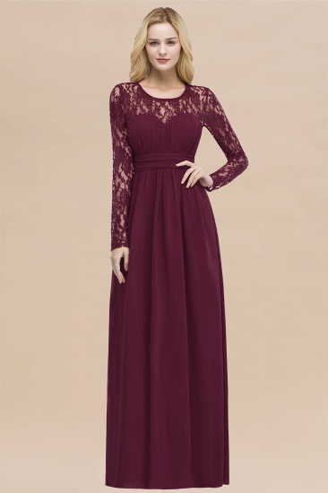 BMbridal Elegant Lace Burgundy Bridesmaid Dresses Online with Long Sleeves_44