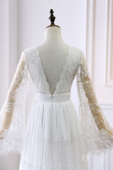 BMbridal Chic Empire Lace Tulle Wedding Dress Long Sleeves V-Neck Appliques Bridal Gowns On Sale_5