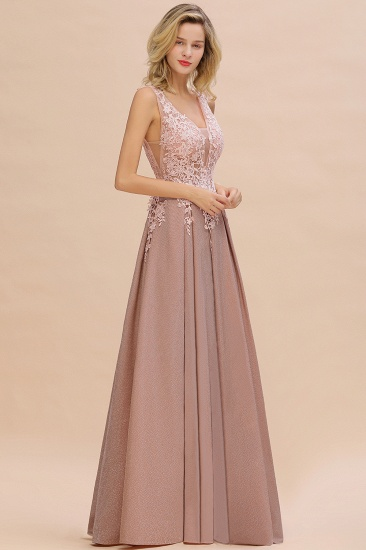 Dusty Pink V-Neck Long Prom Dress With Lace Appliques Online_16