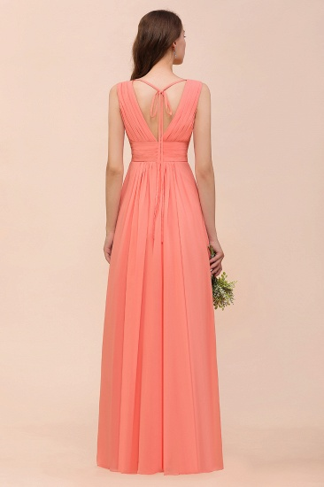 Elegant V-Neck Ruffle Coral Chiffon Cheap Bridesmaid Dresses Online_3