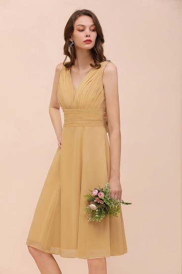 BMbridal Affordable V-Neck Ruffle Gold Short Bridesmaid Dresses with Bow_8