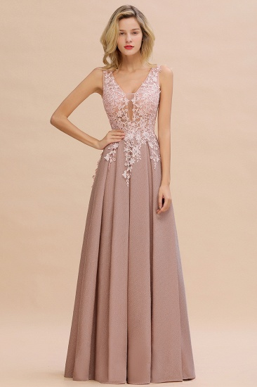 Dusty Pink V-Neck Long Prom Dress With Lace Appliques Online_1