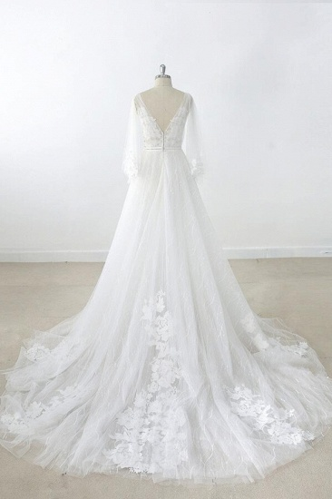BMbridal Long Sleeve V-neck Appliques Tulle Wedding Dress On Sale_3