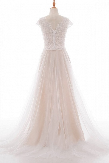 BMbridal Graceful V-neck Lace Tulle A-line Wedding Dress On Sale_3