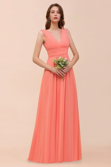 Elegant V-Neck Ruffle Coral Chiffon Cheap Bridesmaid Dresses Online_7