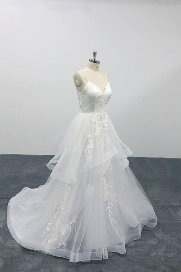 BMbridal Best Appliques Spaghetti Strap Tulle Wedding Dress On Sale_4