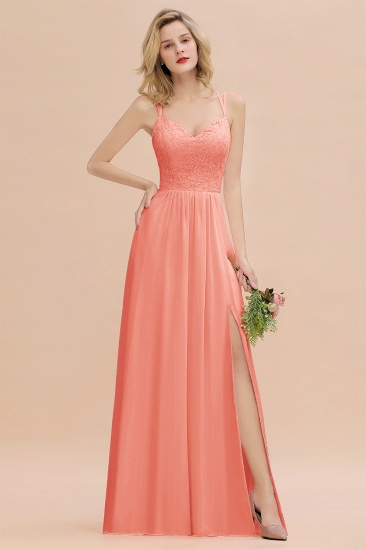 Sexy Spaghetti-Straps Coral Lace Bridesmaid Dresses with Slit_45