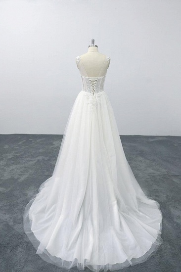 BMbridal Lace-up V-neck Appliques Tulle A-line Wedding Dress On Sale_3